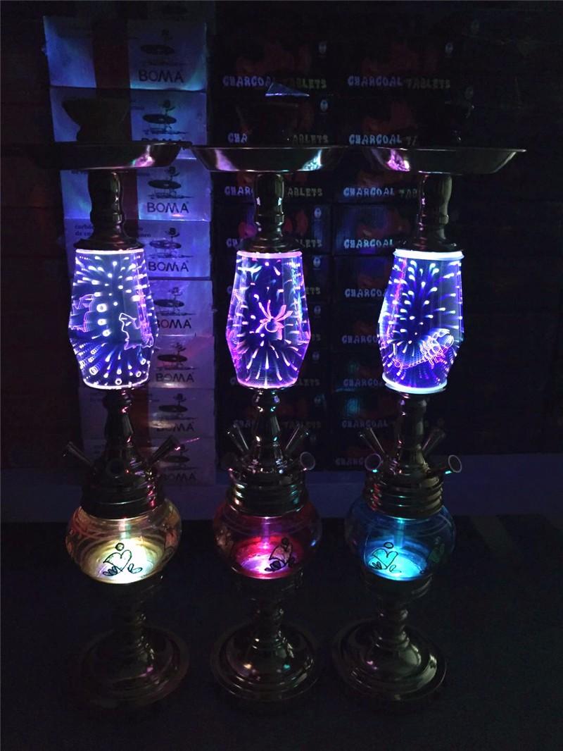 四管大号菱形3D双灯水烟壶
