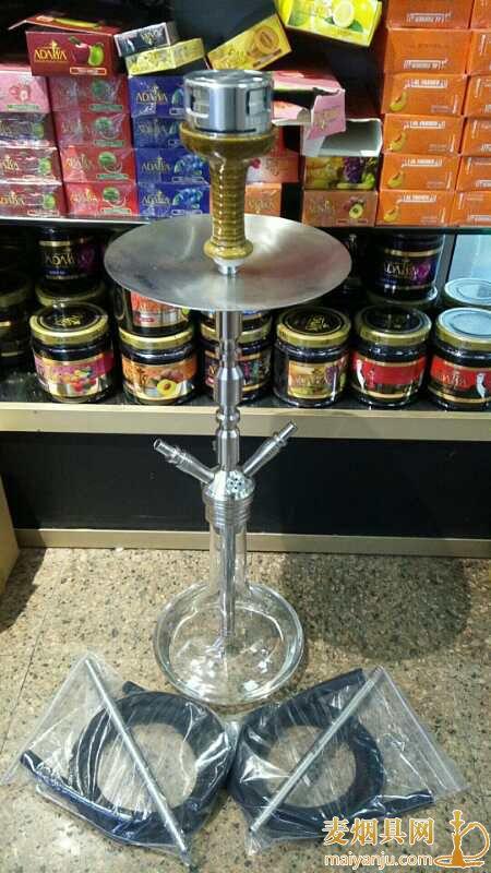 不锈钢大号双嘴3.0mig阿拉伯水烟壶高度66厘米