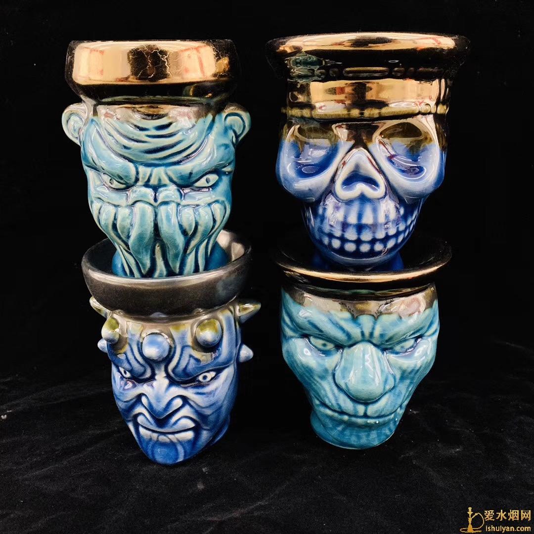 阿拉伯水烟壶陶瓷骷髅烟锅现货款式